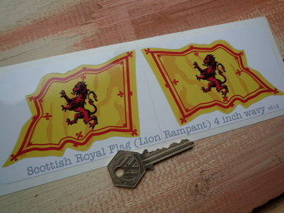 """Scottish Royal Standard Wavy Flag Stickers. 2"""" or 4"""" Pair."""