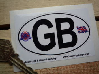 "GB RAC & Union Jack ID Plate Sticker. 3.5"" or 6""."