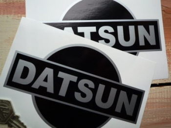 "Datsun Rising Sun Black & Silver Stickers. 3"" or 6"" Pair."