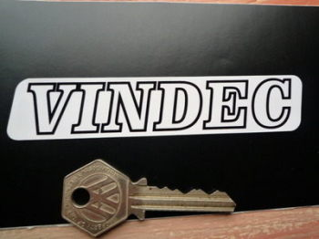 "Vindec Bicycle Black & White One Piece Text Stickers. 4.5"" Pair."