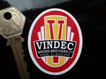 "Vindec Bicycle Headstock White Sticker. 2""."