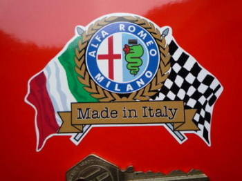 "Alfa Romeo Milano Flag & Scroll Sticker. 3.75""."