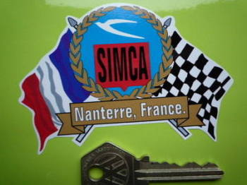 "Simca Flag & Scroll Sticker. 3.75""."