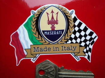 "Maserati Flag & Scroll Sticker. 4""."
