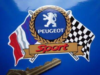 "Peugeot Sport Flag & Scroll Sticker. 4""."