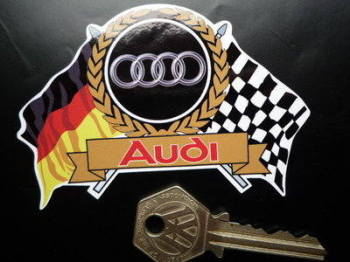 "Audi Flag & Scroll Sticker. 3.75""."