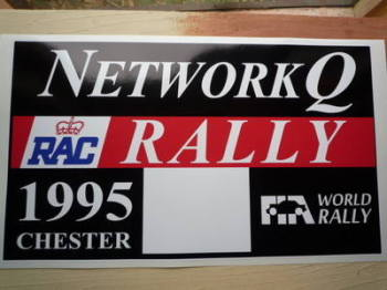 "Network Q RAC Rally 1995 Chester Plate Sticker. 6""."