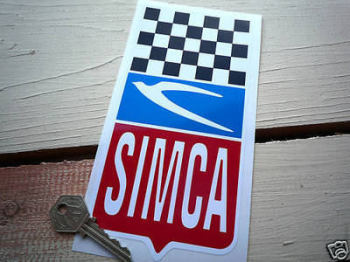 "Simca Chequered Top Sticker. 4"" x 8""."