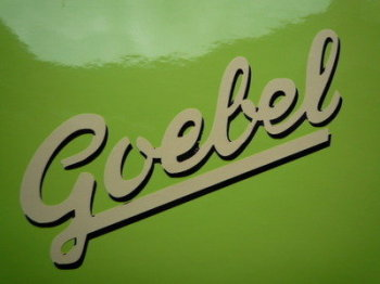 "Goebel Moped Script Text Stickers. 3"" or 4"" Pair."