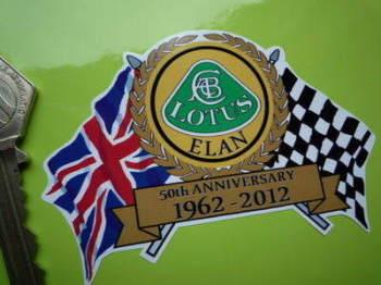 "Lotus Elan 50th Anniversary Flag & Scroll Sticker. 3.75""."
