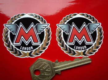 "Matchless London Round Garland Stickers. 2""."