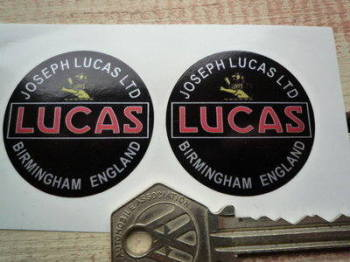 Joseph Lucas Ltd Birmingham England Round Stickers. 40mm or 50mm Pair.