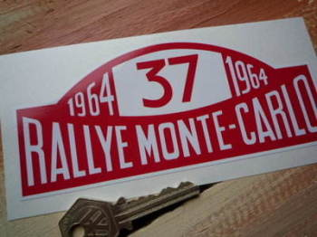 "Mini Cooper S No.37 1964 Monte-Carlo Rallye Winner Plate Sticker. 6""."