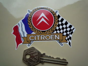 "Citroen Flag & Scroll Sticker. 3.75""."