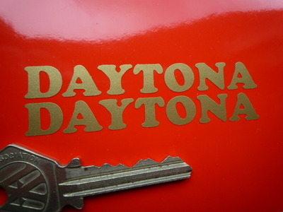 "Daytona Cut Vinyl Gold Script Stickers. 3"" Pair."