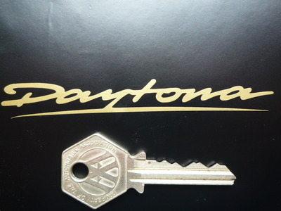 "Daytona Cut Vinyl Gold Text Stickers. 3"" or 4"" Pair."