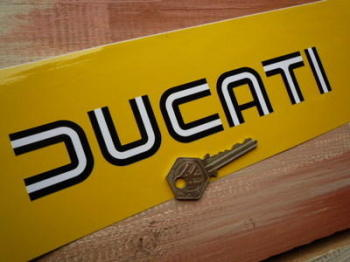 "Ducati Black & White Lined Cut Text Stickers. 6.5"" or 8"" Pair."