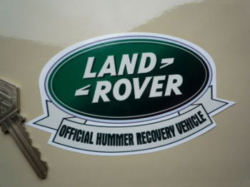 "Land Rover 'Official Hummer Recovery Vehicle' Humorous Sticker. 5""."