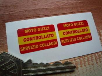"Moto Guzzi Controllato Factory Quality Control Stickers. 1"" Pair."