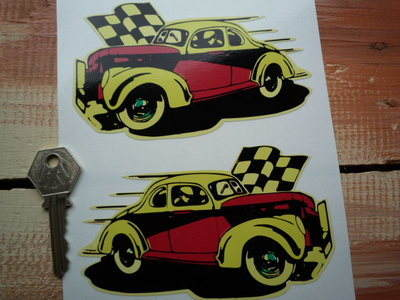 "Classic Hot Rod Retro Stock Car Red & Yellow Stickers. 5"" Pair."