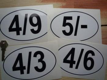 "Oval Petrol Pump Pricing Sticker. 6.5""."