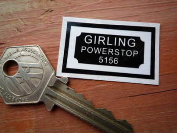 "Girling Powerstop 5156 Black & White with Border Sticker. 1.5""."