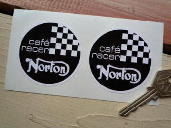 Norton Cafe Racer Circular Stickers. 60mm Pair.