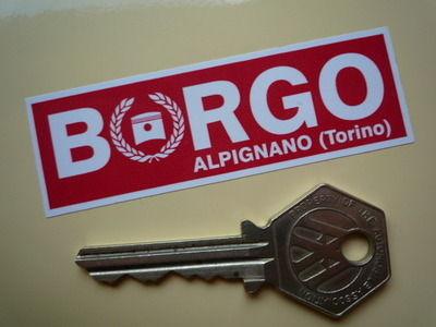"Borgo Alpignano (Torino) Oblong Stickers. 3"" Pair."