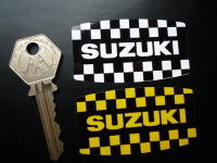 "Suzuki Old Style Chequered Stickers. 2.5"" Pair."