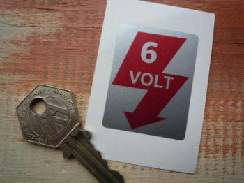 6 Volt Sticker - Red & Silver - 20mm, 30mm, or 45mm