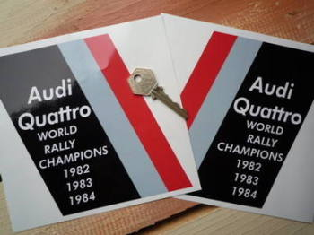 "Audi Quattro World Rally Champions Stickers. 6"" Pair."