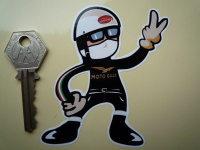 Moto Guzzi Rider Pudding Basin Helmet 2 Fingered Salute Sticker. 3.5