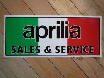 "Aprilia Sales & Service Sticker. 23.5""."