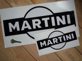 "Martini Black & Clear Sticker. 10""."