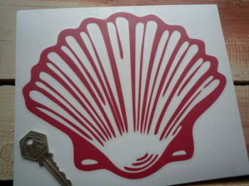 "Shell Old Vintage Cut Out Red Shell Sticker. 8""."