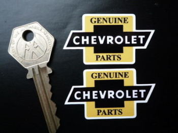 "Chevrolet 'Genuine Parts' Bow Tie Stickers. 2"" Pair."