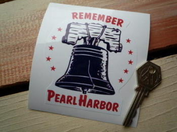 "Remember Pearl Harbor, Bell Sticker, Static Cling. 4""."