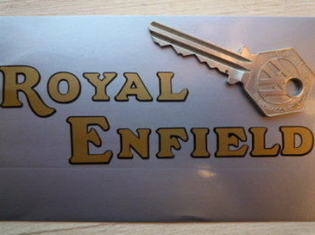"Royal Enfield Black & Gold Cut Vinyl Text Stickers. 4.5"" Pair."