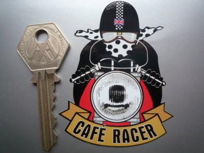"""Cafe Racer Pudding Basin Helmet Sticker. 3""""."""