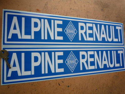 Renault Alpine Blue Oblong Stickers. 450mm Pair.