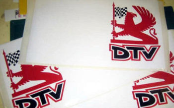 "Vauxhall Dealer Team Griffin DTV Door Panel Stickers. 27"" Pair."