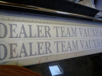 "DTV Dealer Team Vauxhall Cut Text Stickers. 39.5"" Pair."