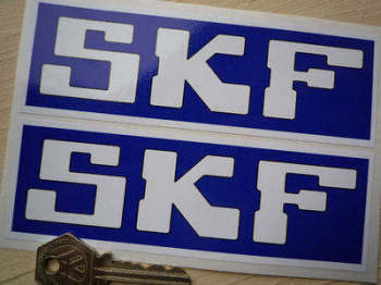 "SKF Dark Blue & White Oblong Stickers. 6"" Pair."