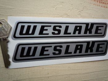 "Weslake Black & Silver Slanted Oblong Stickers. 6"" or 12"" Pair."
