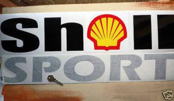 "Shell Sport Cut Out 60's 70's 80's Sticker. 25""."