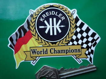 "Kreidler Flag & Scroll Sticker. 3.75""."