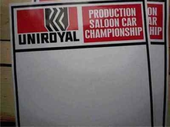 "Uniroyal Saloon Car Championship Door Panel Stickers. 19"" Pair."