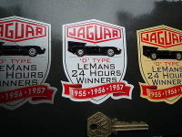 "Jaguar 'D' Type Le Mans 1955, 56, 57 Sticker. 3""."