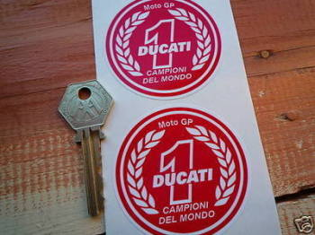 "Ducati 'Moto GP' No.1 Garland Stickers. 2.5"" Pair."
