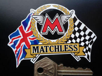 "Matchless Flags & Scroll Sticker. 4""."